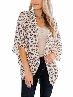 PRETTODAY Women's Floral Print Kimonos Loose Half Sleeve Shawl Chiffon Cardigan Blouses Casual Beach Cover Ups