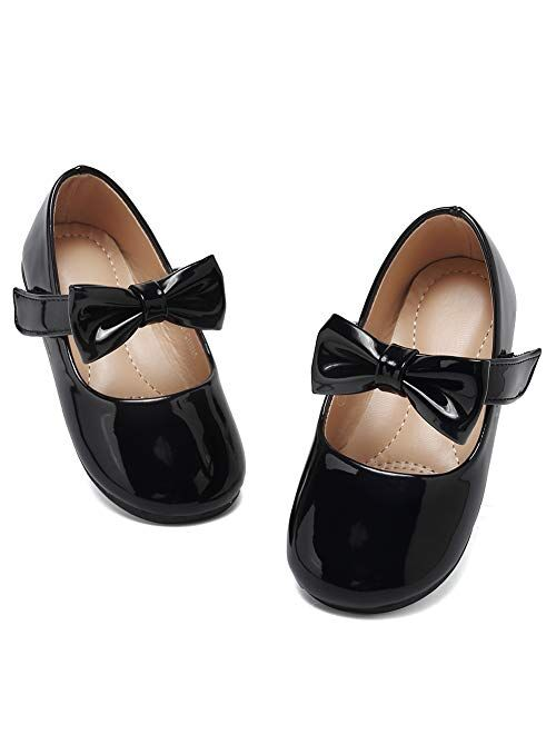 CIOR Toddler Girls Ballet Flats Shoes Ballerina Bowknot Jane Mary Wedding Party Princess Dress