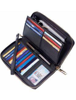 Chelmon Womens Wallet Genuine Leather RFID Blocking Purse Credit Card Clutch