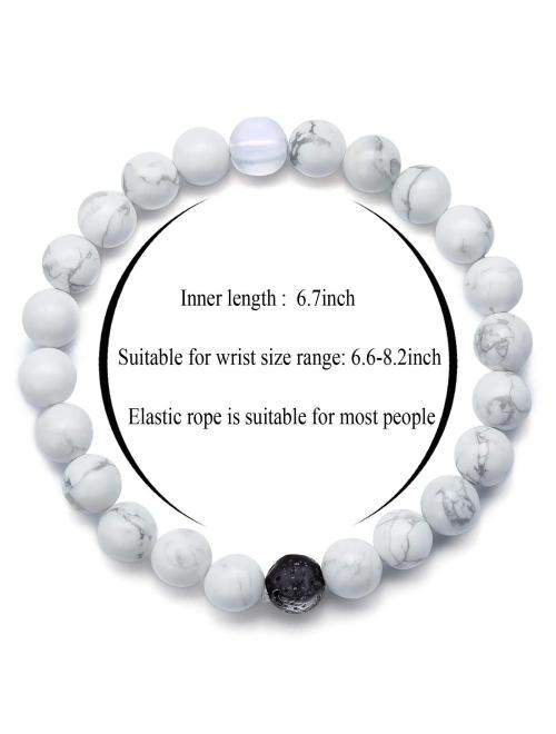 Hamoery Men Women 8mm Tiger Eye Stone Beads Bracelet Elastic Natural Stone Yoga Bracelet Bangle-21003