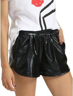 Women's Metallic Shorts Elastic Waist Shiny Pants
