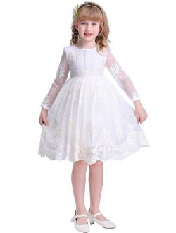Bow Dream Cream Ivory Sleeves/Sleveless Vintage Lace Flower Girl Dress
