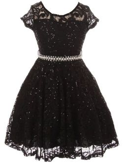 BNY Corner Cap Sleeve Floral Lace Glitter Pearl Holiday Party Flower Girl Dress