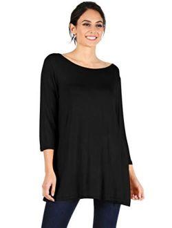 Simlu Womens Tunic Tops for Leggings Reg and Plus Size 3/4 Sleeve Tunic Shirt-USA