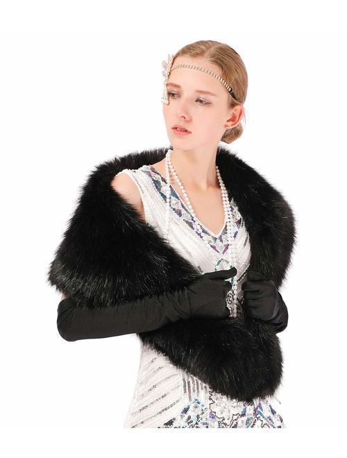 Dikoaina Extra Large Women's Faux Fur Collar for Winter Coat