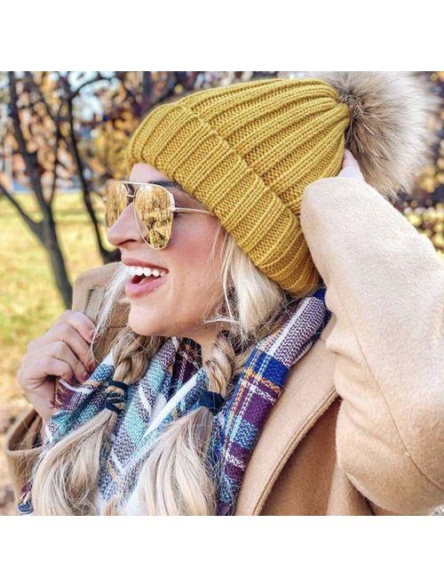 FURTALK Winter Knit Hat Detachable Real Raccoon Fur Pom Pom Womens Girls Warm Knit Beanie Hat