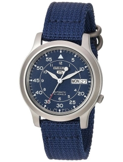 Men's Snk807 Seiko 5 Automatic Stainless Steel Watch With Blue Canvas Band