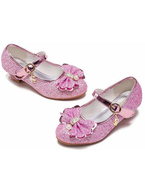 Walofou Flower Girls Dress Wedding Party Bridesmaids Heel Mary Jane Princess Shoes