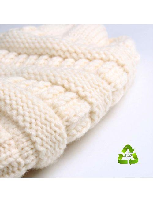FURTALK Winter Slouchy Beanie Hats Women Fleece Lined Warm Ski Knitted Pom Pom Hat