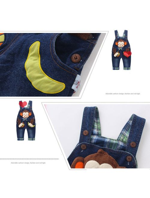 Kidscool Baby & Little Boys/Girls Cotton 3D Cartoon Monkey Denim Overalls