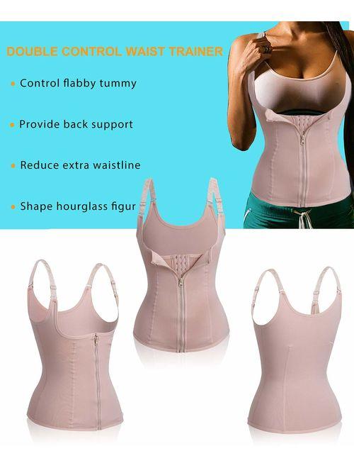 Nebility Women Waist Trainer Corset Zipper Vest Body Shaper Cincher Tank Top with Adjustable Straps