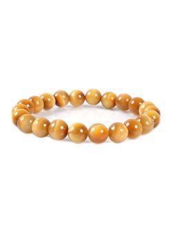 Justinstones 8mm Round Beads Stretch Bracelet 7 Inch Unisex