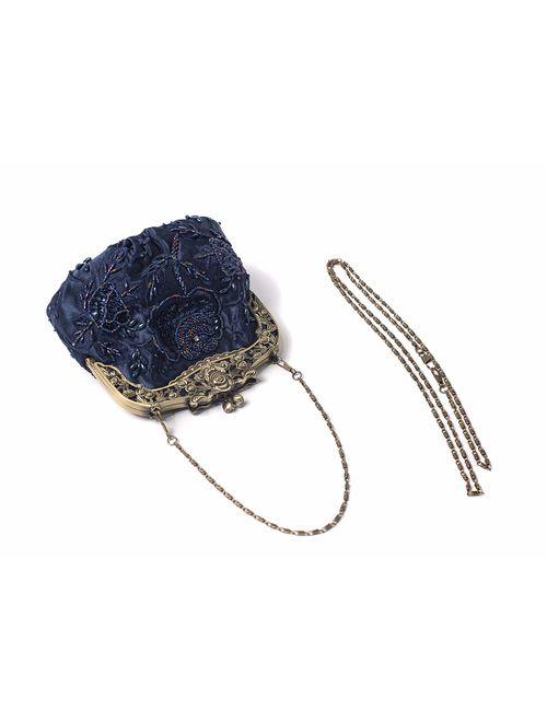 ILISHOP Women's Antique Beaded Party Clutch Vintage Rose Purse Evening Handbag