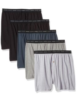 Men's Cotton Solid Relaxed Fit 5-pack Exposed Waistband Knit Boxers