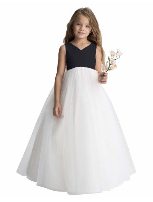 Gdoker Tulle Flower Girl Dress, Chiffon Wedding Party Pageant Dresses for Girls, Long Junior Bridesmaid Dress A-Line