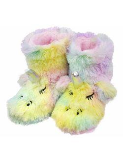 Tirzrro Girls/Kids Cute Unicorn Slippers with Warm Plush Fleece Indoor Outdoor Slip-on Booties