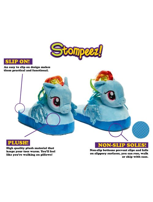 Stompeez Animated My Little Pony Plush Slippers - Ultra Soft and Fuzzy Rainbow Dash Character - Wings Flap as You Walk