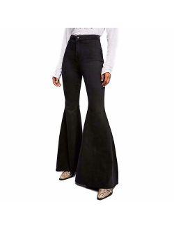 LALA IKAI Women's High Waist Big Bell Bottoms Stretch Fitted Flared Denim Jeans
