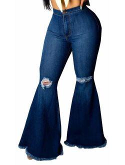 Women's Elastic Ripped Hole Classic Denim Bell Bottom Jeans