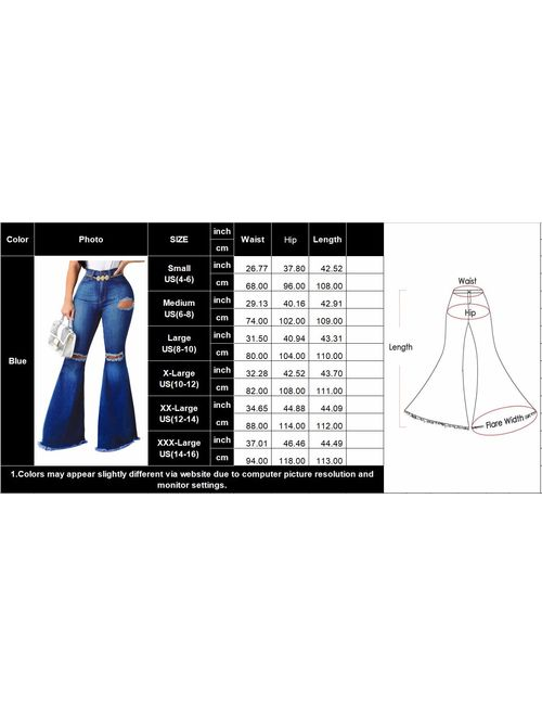 Bell Bottom Jeans for Women Ripped High Waisted Classic Flared Pants