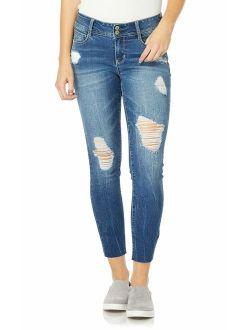 WallFlower Women's Juniors Destructed Luscious Curvy Ankle Skinny Jeans