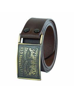 Men's Leather Belt With Plaque Buckle