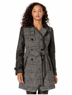 Women's Belted Plaid Wool And Faux Leather Coat