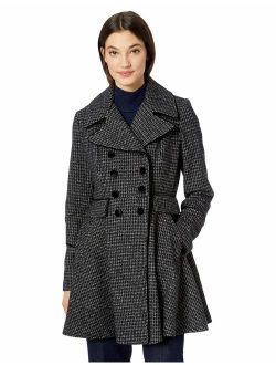 Women's Fashion Plaid Fit And Flare Double Breasted Wool Coat