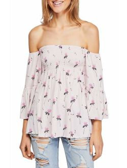 FreePeople Women's Lana Off The Shoulder Tunic, Large, Purple