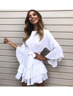 Women's Casual Solid Coloro-neck 3/4 Bell Sleeve Ruffle Swing A Line Mini Dress Sundress With Belt