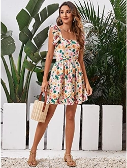Women's Cute Tie Back Ruffle Strap A Line Fit And Flare Flowy Short Dress