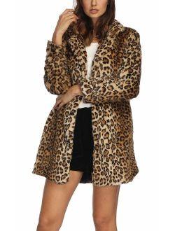 Women Warm Long Sleeve Parka Faux Fur Coat Overcoat Fluffy Top Jacket