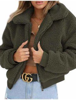 AKEWEI Women's Short Faux Fur Bomber Coat Teddy Bear Jacket with Pockets Shearling Coat for Women