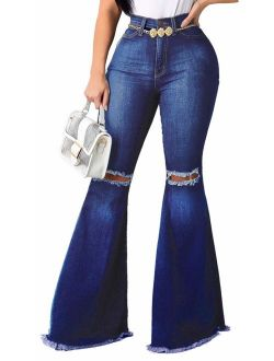 Skinny Ripped Bell Bottom Jeans for Women Classic High Waisted Flared Jean Pants