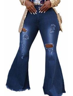 SeNight Women Bell Bottom Jeans Elastic Waist Ripped Flared Jean Destroyed Raw Hem Denim Pants