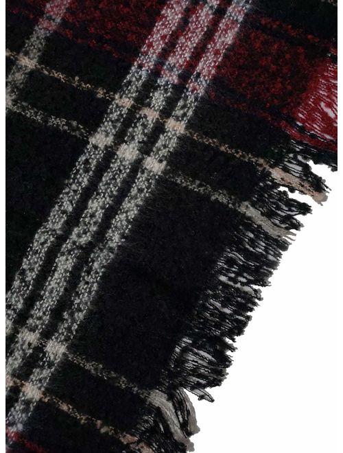 VIMPUNEC Women Boho Buffalo Plaid Poncho Pashmina Shawl Wrap Cape Sweater Knitting Cardigan with Tassel