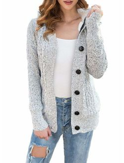 LIENRIDY Women's Sweater Cardigans Hooded Button Cable Thick Sweaters Coats with Pockets