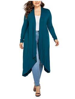 IN'VOLAND Women's Plus Size Cardigan Long Sleeve Open Front Drape Cardigans Lightweight Long Duster