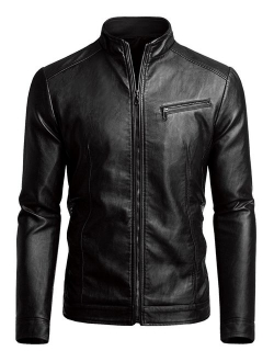 Fairylinks Men's Casual Faux Leather Jacket