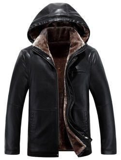Tanming Men's Winter Warm PU Leather Coat Real Fur Hooded Faux Leather Jacket