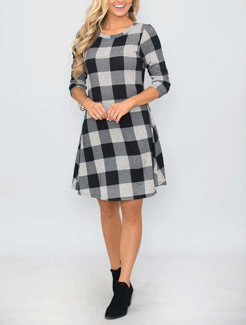 MIROL Women's Long Sleeve Plaid Color Block Casual Swing Loose Fit Tunic Dress with Pockets