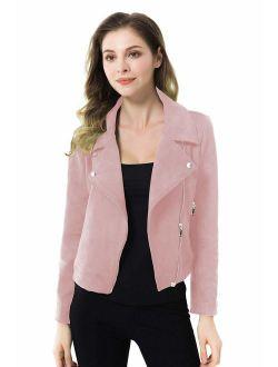 Apperloth Faux Suede Jackets for Women Long Sleeve Zipper Short Moto Biker Coat