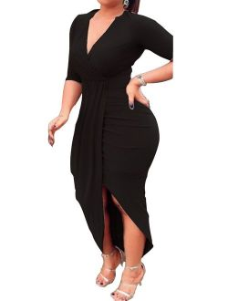 AM CLOTHES Sexy Ruched Bodycon Asymmetrical V Neck Front Slit Midi Club Dresses