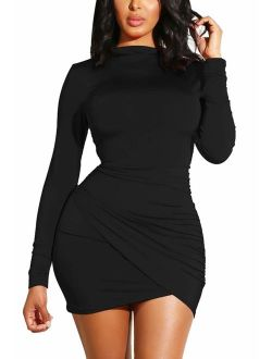 GOBLES Women's Long Sleeve Elegant Sexy Bodycon Ruched Mini Cocktail Dress