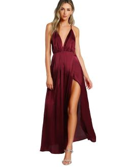 Sexy Satin Plunge Neck Backless Side Slit Maxi Party Evening Dress
