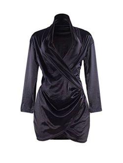Sedrinuo Sexy Long Sleeve Deep V Neck Club Mini Dresses for Women