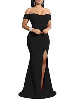 YMDUCH Off Shoulder Thigh High Slit Long Evening Party Bodycon Dress