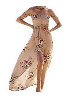 SVALIY Chiffon Floral Off The Shoulder High Slit Chiffon Maxi Beach Dresses Wedding Party
