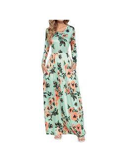 HOOYON Floral Printed Long Sleeve Summer Caual Long Maxi Dress With Pockets