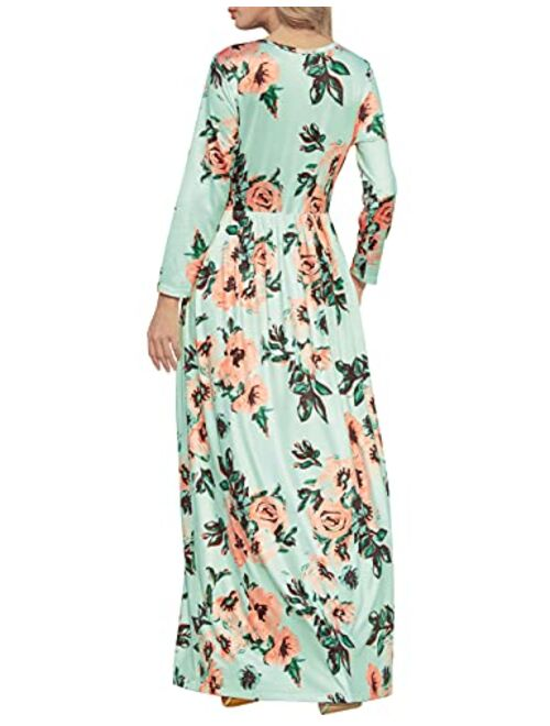 HOOYON Floral Printed Long Sleeve Summer Caual Long Maxi Dress With Pockets